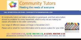 Community Tutors £8-£10 per hour (11plus, A Level maths, GCSE Maths)