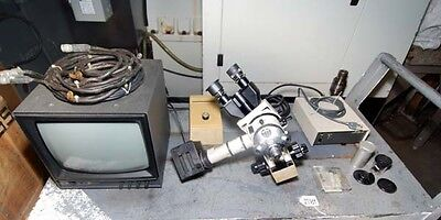 Nikon Microscope With Cctv Camera And Monitor Inv27189