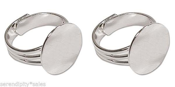 12 SILVER PLATED Adjustable Ring Blanks 16mm pad to glue Findings ~ Nice + Solid