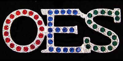 OES - Colored Crystals Large Lapel Pin/Broach - New! Order of the Eastern Star , used for sale  Shipping to Canada