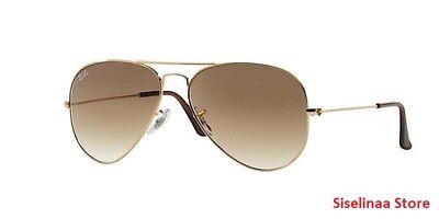 Ray Ban 3025 001/51 Gold Aviator Brown Gradient Lens Sunglasses 55mm (Ray Ban 3025 Gold Brown Gradient 55mm)
