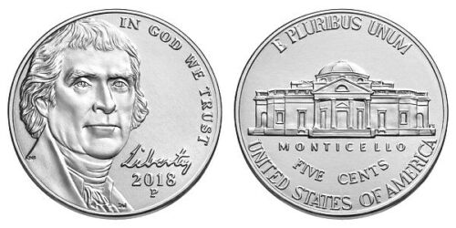 2018 P D S JEFFERSON NICKEL GEM UNCIRCULATED Coins + PROOF- 3 COINS