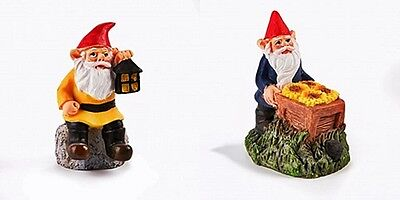 FAIRY GARDEN WORKING GNOME CHOOSE FROM LANTERN OR SUNFLOWER COLORFUL RESIN -