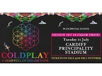 4 x Coldplay Pitch Standing Tickets Millennium stadium