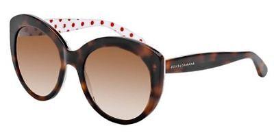 Dolce & Gabbana Women Cat Eye Sunglasses DG4227 287213 Havana Frame Brown Lens