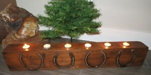LARGE RUSTIC RECLAIMED WOOD CANDLE HOLDER w 4 Lucky Horseshoe