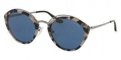 New Prada PR 18US HU7219 Cat Eye Grey Havana Gunmetal Blue Sunglasses Italy