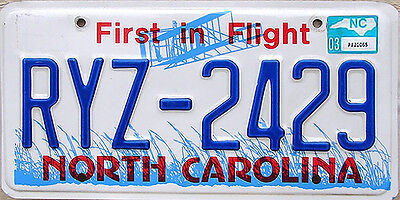 North Carolina FIRST IN FLIGHT License Plate AVIATION AIRPLANE NC RANDOM PLATE#