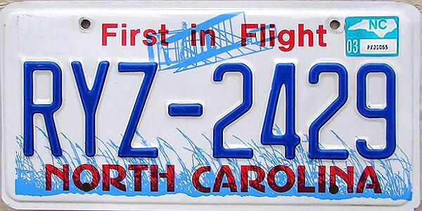North Carolina FIRST IN FLIGHT License Plate (RANDOM PLATE#)
