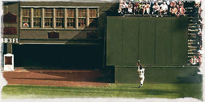 Willie Mays World Series Catch - WILLIE MAYS LEAPS TO MAKE SPECTACULAR BASKET CATCH DURING THE WORLD SERIES