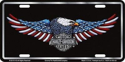 Harley Davidson Patriotic Eagle Embossed Metal Vanity Car License Plate Auto Tag