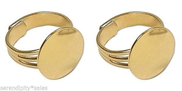 2 each GOLD Adjustable RING BLANKS 16mm Round Flat Pad to Glue Findings ~ NICE