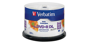 Verbatim DVD+R 8x 8.5GB Dual Layer Hub Printable 50 Disc Spindle