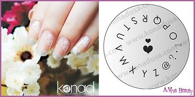 Konad Stamping Nail Art Design Image Plate M18 LETTERS for sale  Shipping to India