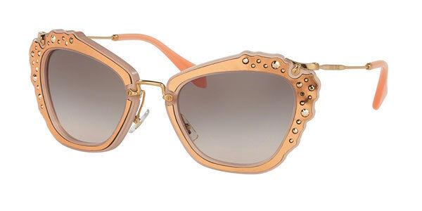 Miu Miu  MU04QS TV1-4K0 Womens Matte Pink Square Sunglasses