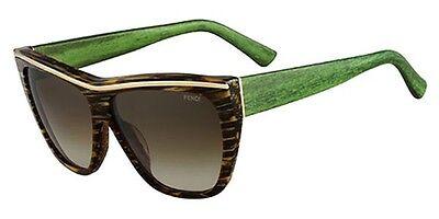 Fendi FS 5284 210 Sunglasses Striped Brown Green Wood Authentic New