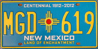 New Mexico CENTENNIAL License Plate - TURQUOISE