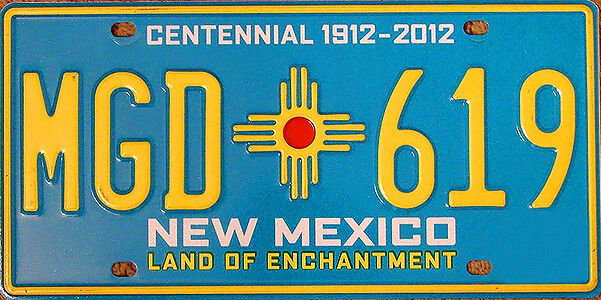 NM NEW MEXICO Turquoise CENTENNIAL Zia Sun License Plate Random Letters