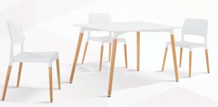 5 PCS Dinning Set MDF Seat Back Timber Leg Chairs