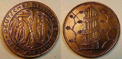 PROBEPRÄGUNG WEIMAR 50 Pfennig 1925 F Gestaltungsprobe zu J.324/318 Messing