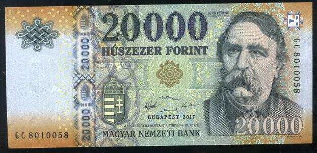 HUNGARY 20,000 20000 FORINT 2017 P 207 d UNC