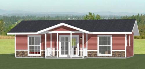36x24 House -- 2 Bedroom 2 Bath -- 864 sq ft -- PDF Floor Plan -- Model 1C