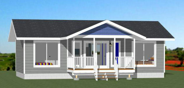 36x20 House -- 2 Bedroom 2 Bath -- 720 sq ft -- PDF Floor Plan -- Model 2A