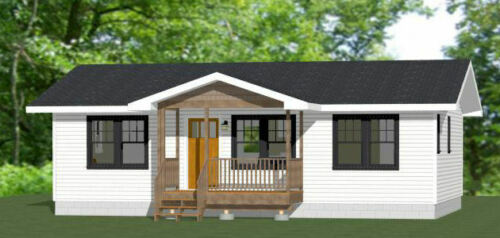 36x24 House -- 2 Bedroom 2 Bath -- 864 sq ft -- PDF Floor Plan -- Model 1D