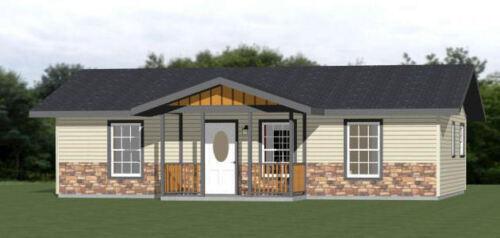 36x24 House -- 1 Bedroom 1 Bath -- 864 sq ft -- PDF Floor Plan -- Model 1