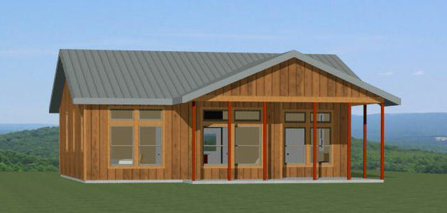 36x32 House -- 2 Bedroom 2 Bath -- 1,082 sq ft -- PDF Floor Plan -- Model 1A