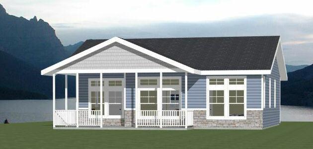 36x32 House -- 2 Bedroom 2 Bath -- 1,082 sq ft -- PDF Floor Plan -- Model 1