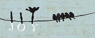 Birds on a Wire - Joy Art Poster Print by Alain Pelletier, 20x8