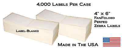 "4000 Fanfold 4"" x 6"" Direct Thermal Labels. Shipping / Barcode Labels Zebra UPS"