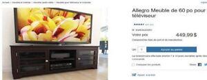 Meuble pour Télévision de 60pouce en bois brun très foncé