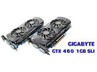 2X Gigabyte GeForce GTX 460 OC Edition (1024 MB 256Bit) (N460OC1GI) + SLI Bridge