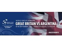 Davis Cup Tennis: 2 x World Group Semifinal (Great Britain vs Argentina) Saturday Admission Ticket