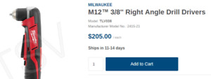"""Milwaukee 3/8"""" right angle drill with battery pack and charger"""