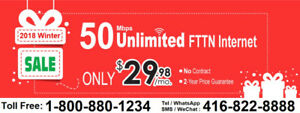 FREE Dry loop , Unlimited 50M internet for $29.98, no contract