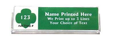Trefoil Green Custom Name Tag Badge Id Pin Magnet For Girl Scouts Junior Leader