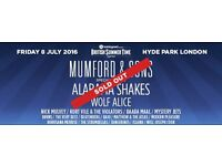 X2 Mumford and Sons Hyde Park General Admission tickets -SOLD OUT