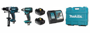"NEW Makita DLX2005M 18v LXT Hammer Drill and ¼"" Impact Driver"