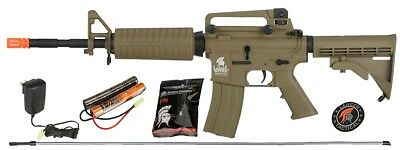 Lancer Tactical M4A1 AEG Metal Gears Airsoft Gun Rifle - Battery/Charger - TAN, used for sale  USA