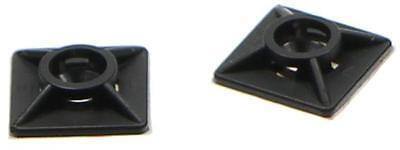 100 Sockel für Kabelbinder Kabelbinderhalter Kabelbindersockel schwarz 19x19mm