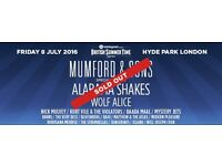 Mumford & Sons BST Hyde Park 8 July - 3 tickets