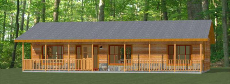 46x24 House - 2 Bedroom 2 Bath - 1,104 sqft - PDF Floor Plan - Model 1A