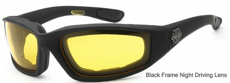 cb8575f299 ... 3 PAIRS Choppers Padded Foam Wind Resistant Sunglasses Motorcycle  Riding Glasses. Black Smoke Lens. Black Night Driving Lens. Black Clear Lens