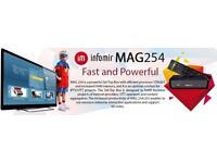 ORIGINAL/INFOMIR - MAG 254 - HD IPTV BOX BETTER THAN ANY SAT BOX-NO DISH NEEDED+12 MTHS