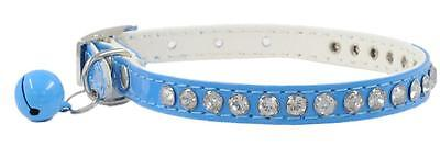 Dog Pet Cat Collar Puppy Pu Leather Small Crystal Diamonds With Cute Bell Blue
