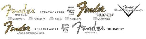 2 Fender Stratocaster 2 Fender Telecaster Headstock Decals + 1 CS Decal - 4 Sets