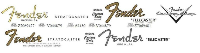 2 Fender Stratocaster and 2 Fender Telecaster Waterslide Decals + 1 Custom Shop!